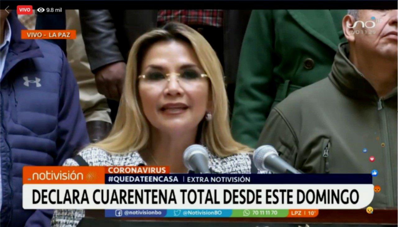 Bolivia declara cuarentena total desde este domingo