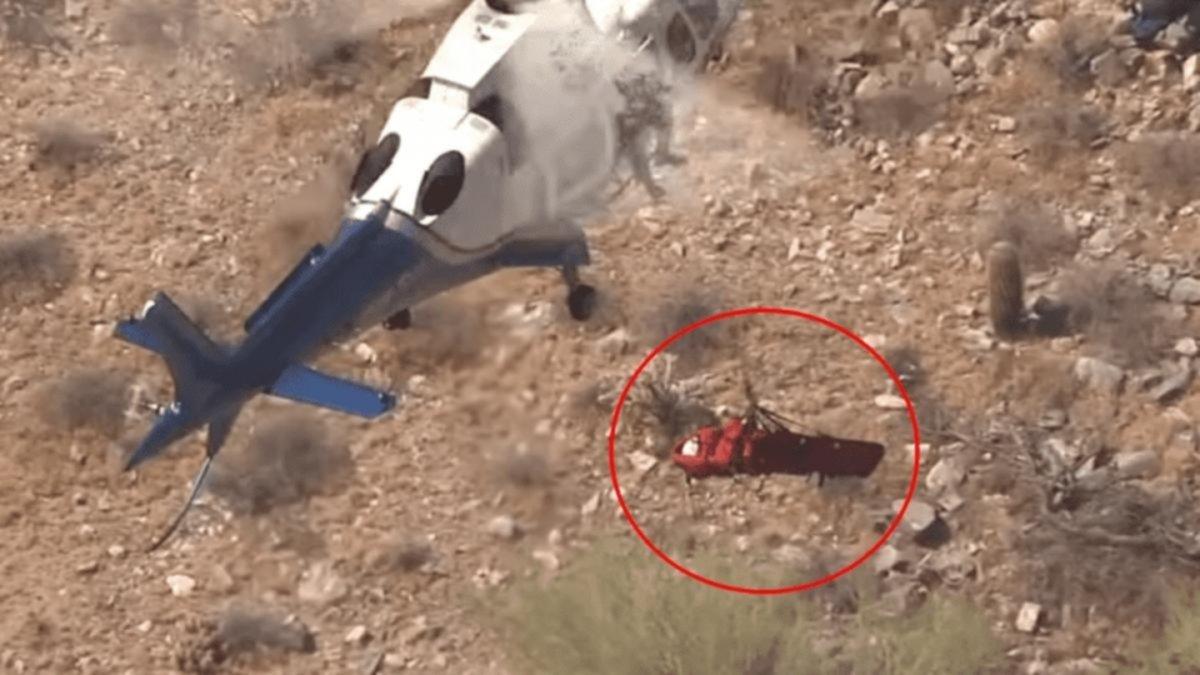 Vientos complican el rescate de una abuelita desde un helicóptero