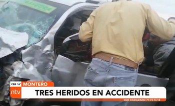 Aparatoso accidente en Montero deja 3 heridos