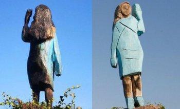 Queman una estatua de Melania Trump en su pueblo natal