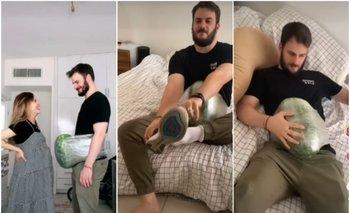 VIDEO: Se amarra una sandía en el vientre para sentirse embarazado